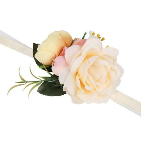 AkoaDa Simulation Roses Wrist Corsage Wrist Flowers For Bridesmaids Flower Bracelet Pink Blue Bridal Sisters Wedding Decor ()