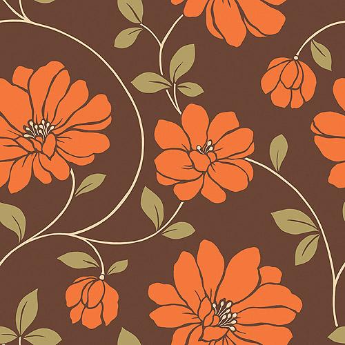 Mega Flowers Wallcovering, Brown/Orange/Green