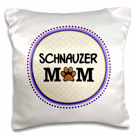 Purple Circle (3dRose Schnauzer Dog Mom - Doggie mama by breed - paw print mum love doggy lover - pet owner purple circle - Pillow Case, 16 by)