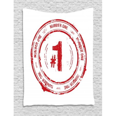 Number Tapestry, Number One Old Fashioned Grunge Stamp at Top Best Leader Emblem Design, Wall Hanging for Bedroom Living Room Dorm Decor, 40W X 60L Inches, Vermilion and White, by