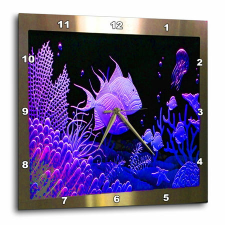 3dRose Neon Purple fish in a aquarium metal frame with coral and ocean life, Wall Clock, 13 by 13-inch