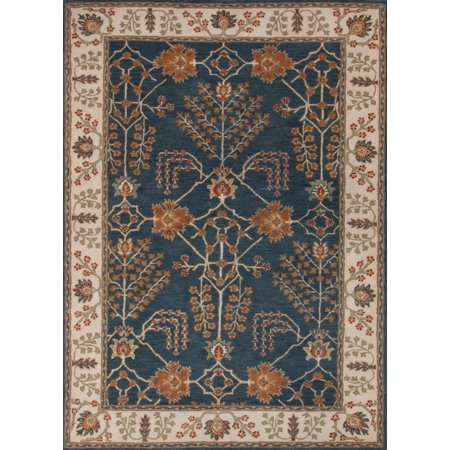 5' x 8' Orange and Blue Chambery Classic Arts And Crafts Style Hand-Tufted Wool Area Throw Rug