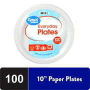 Great Value White Disposable Paper Plates, 10in, 100