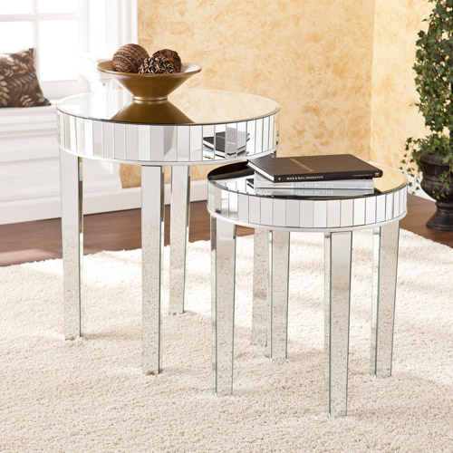 Merveilleux Southern Enterprises Surrey Round Mirrored Nesting Side Table 2 Piece Set,  Mirrored W/ Silver