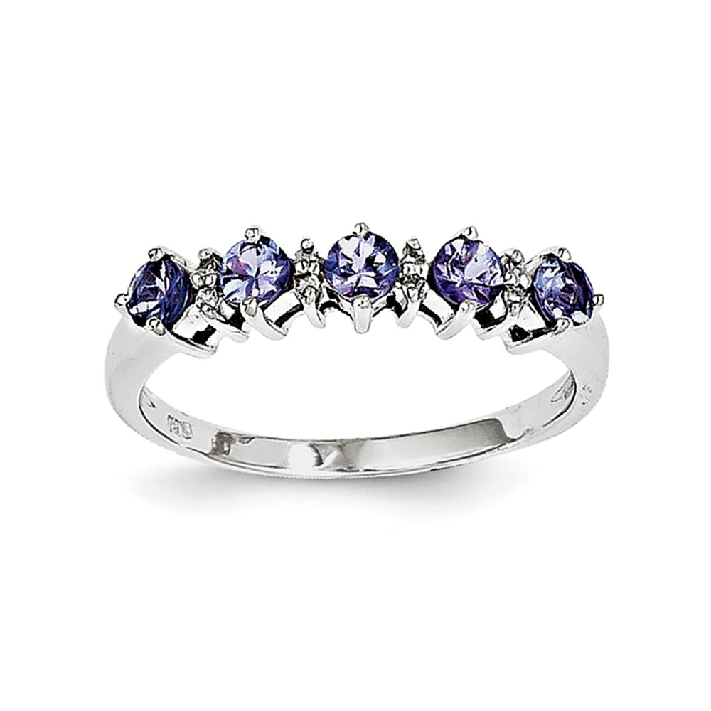 925 Sterling Silver (0.03cttw) Tanzanite and Diamond Ring by