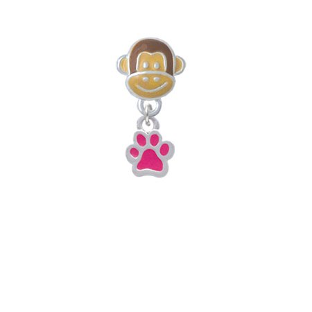 Mini Translucent Hot Pink Paw - Monkey Face Charm Bead