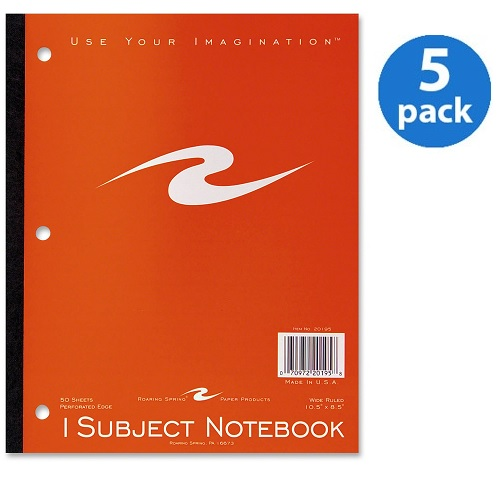 (5 Pack) Roaring Spring 1-Subject Tapebound Notebooks, 1 Each (Quantity)