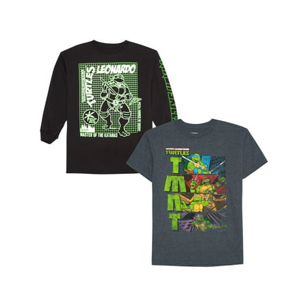 Teenage Mutant Ninja Turtles Long And Short Sleeve Graphic Shirt Two Pack (Little Boys & Big - Ninja Turtle Shirts For Halloween