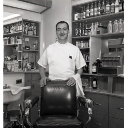 Barber standing behind chair in barber shop Canvas Art - (18 x 24)