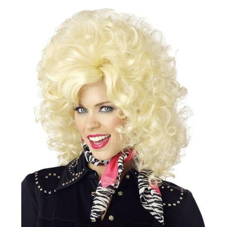 Country Western Diva Wig Dolly Parton Singer Pardon Blonde Curly Big Costume - image 1 de 1