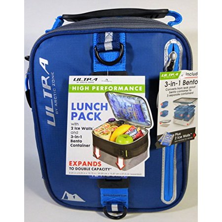 expandable lunch pack ultra arctic zone bento containers 2 ice packs blue black. Black Bedroom Furniture Sets. Home Design Ideas