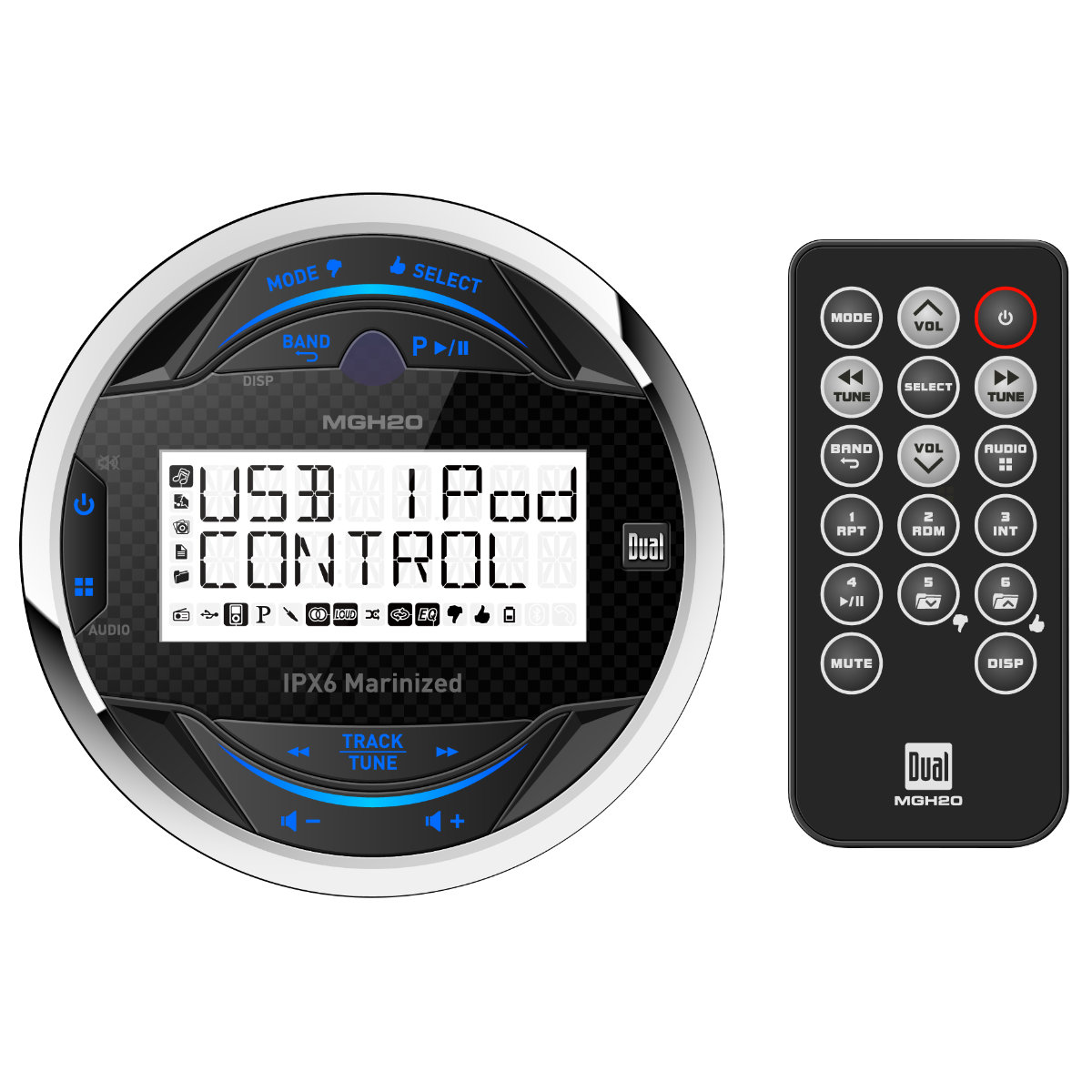 Dual MGH20 In-Dash Digital Media Round Marine MP3 Stereo Pandora