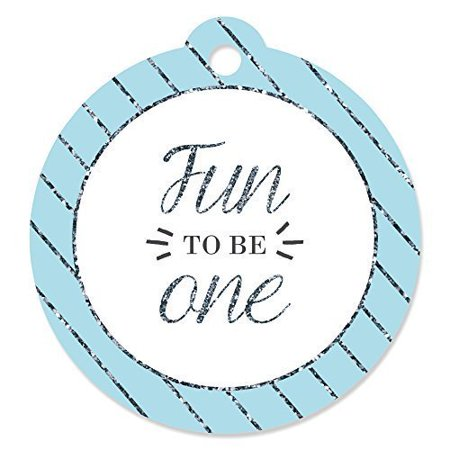 Fun to be One - 1st Birthday Boy - First Birthday Party Favor Tags (Set of 20)