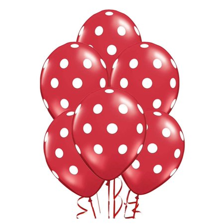 Polka Dot Balloons 11in Premium Red with All-Over print White Dots - Red And White Polka Dot Balloons
