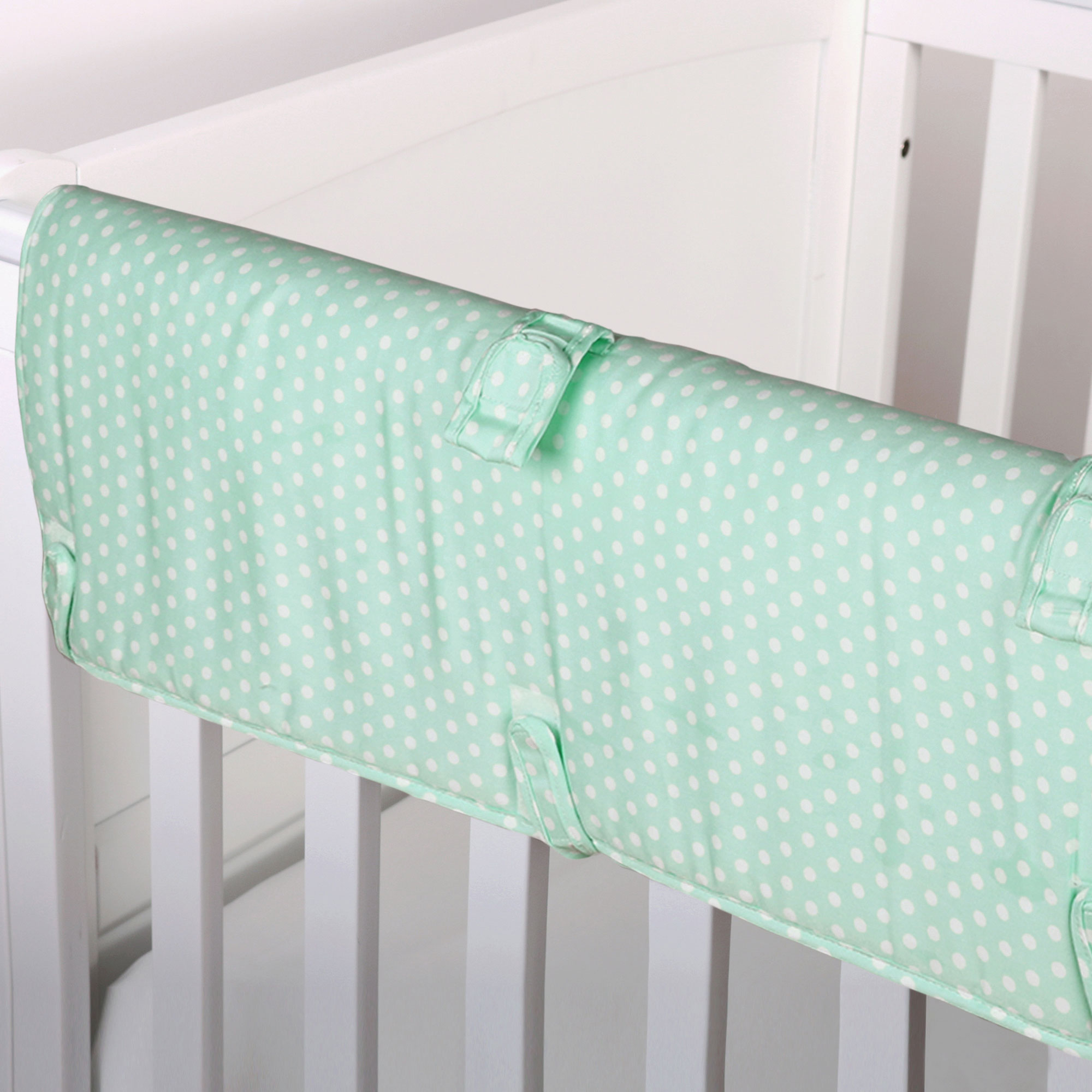 The Peanut Shell Baby Crib Rail Guard - Mint Green Confetti Dot Print - 100% Cotton Sateen Cover, Polyester Fill