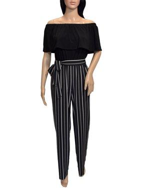 bebe Women's Cross Wrap Jumpsuit, Black, 2