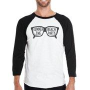 Summer Time Beach Party Mens Black And White Baseball Shirt