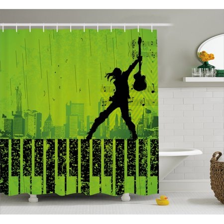 Popstar Party Shower Curtain  Music In The City Theme Singer With Electric Guitar On Grunge Backdrop  Fabric Bathroom Set With Hooks  69W X 75L Inches Long  Lime Green Black  By Ambesonne