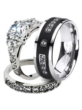 Product Image His Her Stainless Steel 2 50 Ct Cz Bridal Set Men S Anium Wedding Band Women