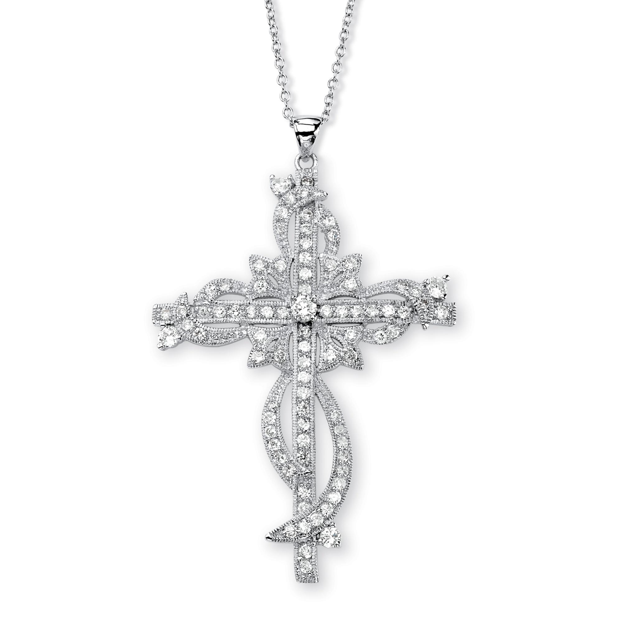 3.12 TCW Round Cubic Zirconia Cross Pendant Necklace in Silvertone 18