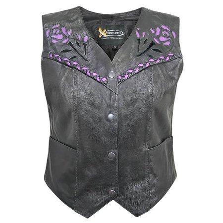 Xelement XS125077 Womens Black Leather Biker Vest with Rose Inlay and Braid