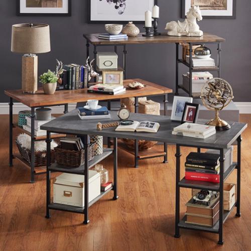 TRIBECCA HOME Myra Vintage Industrial Modern Rustic Storage Desk GREY FINISH