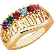 "Personalized ""Grandma"" Birthstone Silver-Tone or 14kt Gold-Tone Ring"