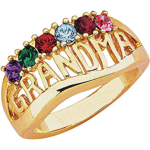 "Personalized ""Grandma"" Birthstone Silver-Tone or 14kt Gold-Tone Ring"