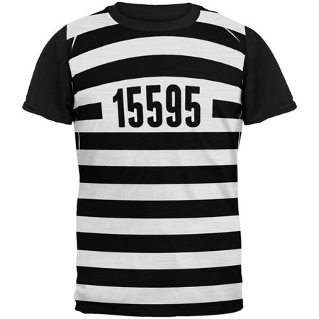 Halloween Prisoner Old Time Striped Costume All Over Mens Black Back T Shirt