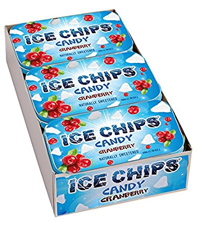 ICE CHIPS Xylitol Candy, Cranberry (6 Tins)