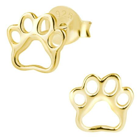 Hypoallergenic Sterling Silver Puppy Paw Print Earrings for Kids (Nickel Free/14k