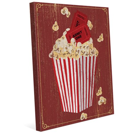 Click Wall Art \'Popcorn with Admission\' Graphic Art on Wrapped ...