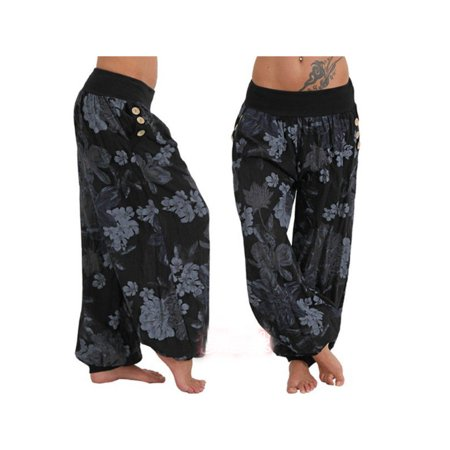 Women Plus Size Harem Floral Print Loose Trousers Casual Hippie Baggy Yoga Pants](Womens Plus Size)