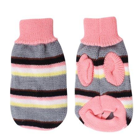 Unique Pet Costumes (Unique Bargains Pink Gray Knitted Turtleneck Stripe Print Pet Dog Yorkie Sweater Costume)