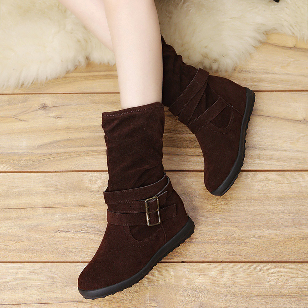 Womail Ladies Womens Low Wedge Buckle Biker Ankle Trim Flat Ankle Boots Shoes