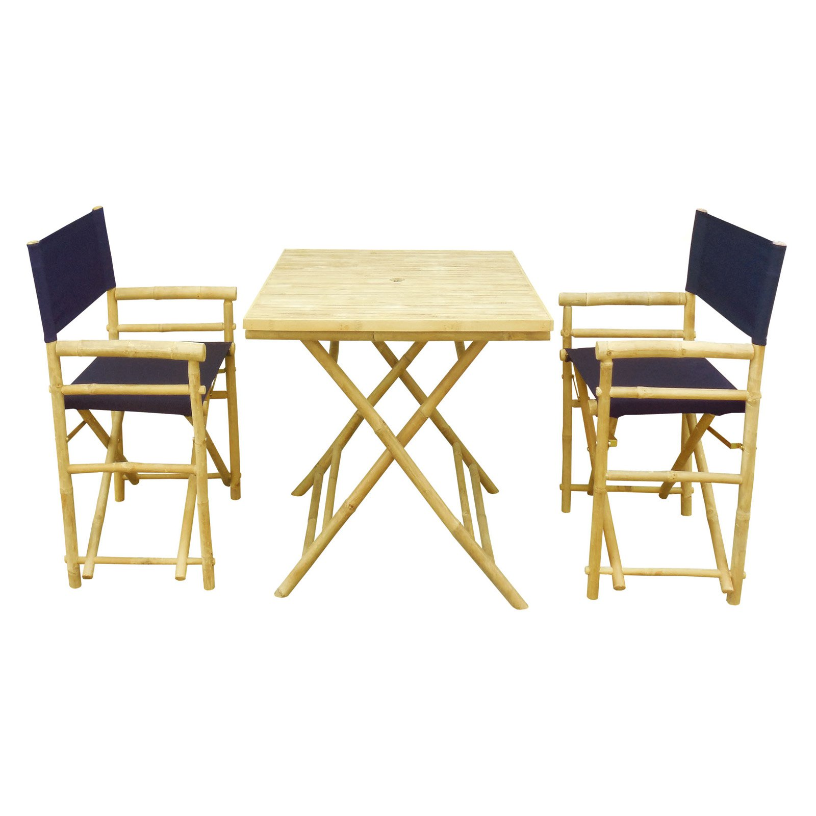 Zew Hand Crafted 3 Piece Square Folding Bamboo Patio Dini...