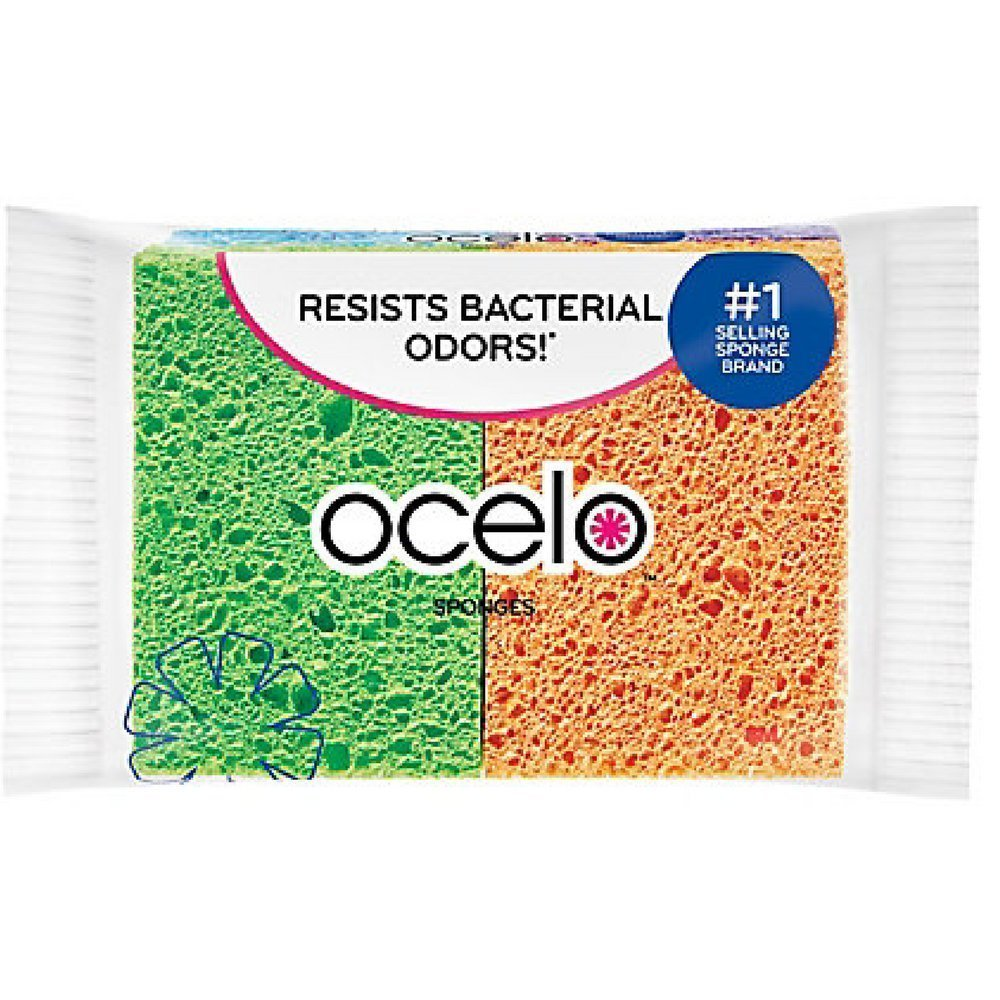 O-Cel-O Cellulose Sponges, Assorted Colors 4 ea (Pack of 3), Pack of 12 Sponges (3 X 4 Count Packs) By OCelO