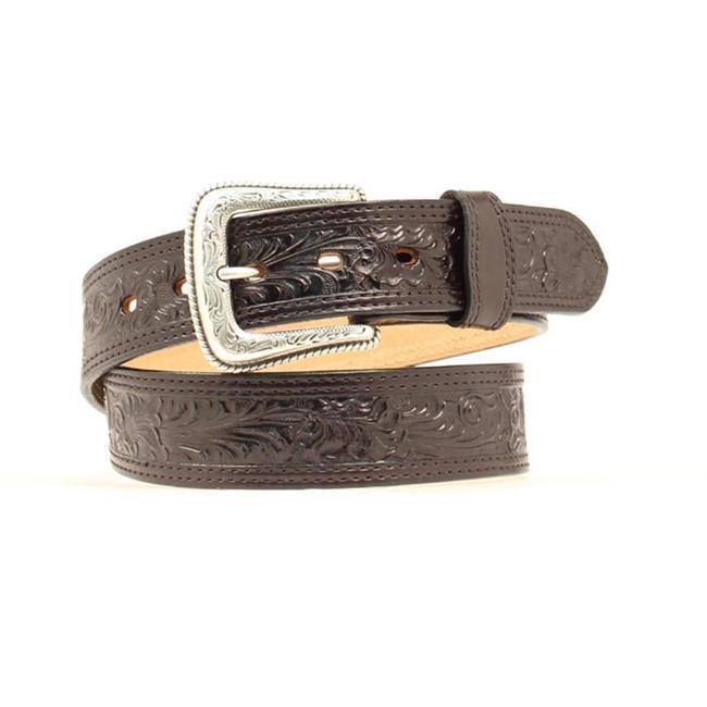 Nocona Western Mens Belt Leather Tooled Floral N2496808