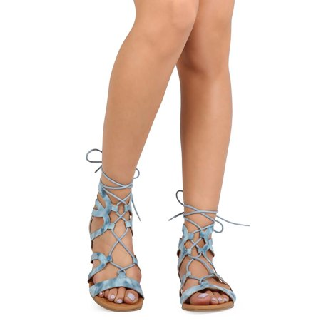 Qupid EB97 Women Distressed Suede Open Toe Gilly Tie Gladiator EA97