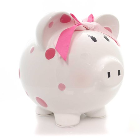 Bank PINK MULTI DOT BANK Ceramic Bow Save Money Girl (Best Way To Save Money In Bank India)