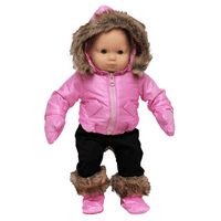 The Queen's Treasures 15 In Baby Doll Clothes, 6pc Pink Winter Jacket, Pants, Boots, Mittens Doll Clothing . Compatible with American Girl Bitty Babies And Bitty Twins