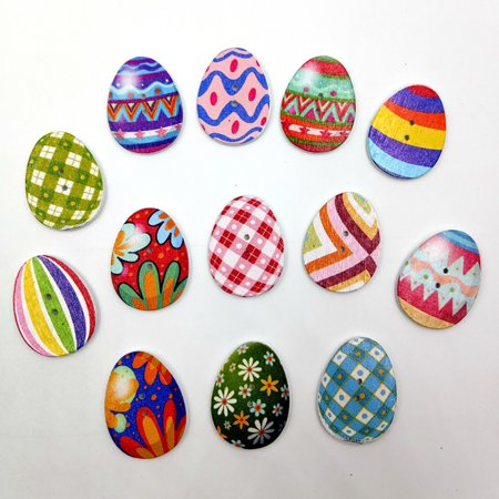 Hot Sale 100 PCs Mixed Wooden Buttons Painting Easter Eggs 2Hole Fit Sewing DIY -