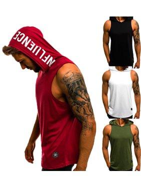 SUNSIOM Men Sports Gym Plain Tank Top Hoodie Fitness Pullover Sleeveless Sweatshirt Vest