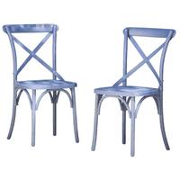 "GHP 2-Pcs 20.75""x19.50""x35"" Farmhouse Norway Blue Plastic Crisscross Dining Chairs"