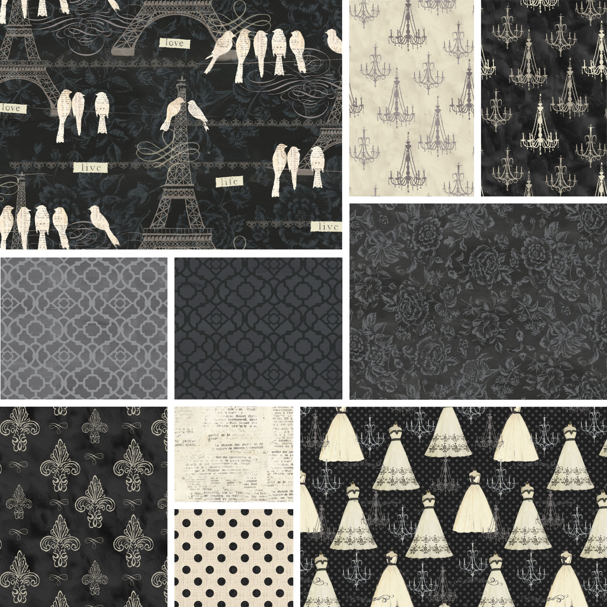"David Textiles Love Paris Collection 44"" Quilting Cotton Fabric By The Yard"