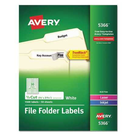Avery Shipping Labels with TruckBlock for Inkjet/Laser Printers, 0.67 x 3.44 in., White, 50 Count (8126)