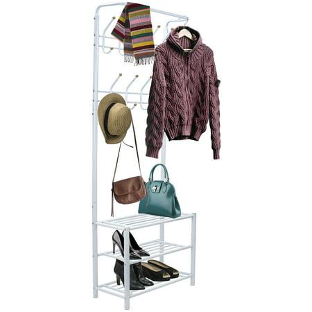 Sorbus Coat Shoe Racks Bench - Hallway Entryway Coat Rack with Storage - Shoe Bench Organizer features 18 Hooks and 3-Tier Shelves, Metal