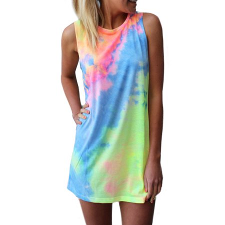 Women's Sleeveless Tie-dye Summer Mini Dress Beach Sundress Women Tye Dye