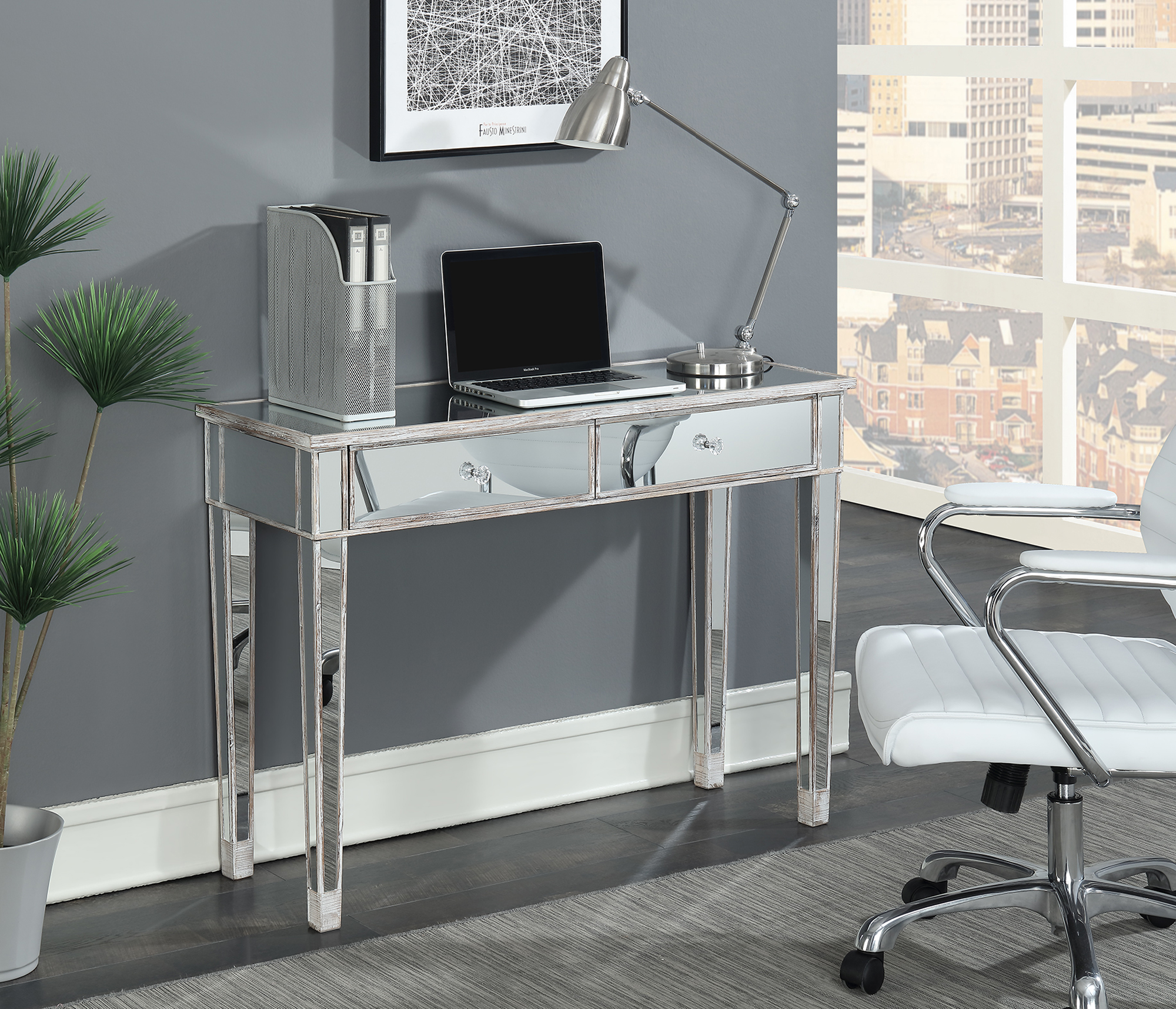 Delicieux Convenience Concepts Gold Coast Mirrored Desk Vanity