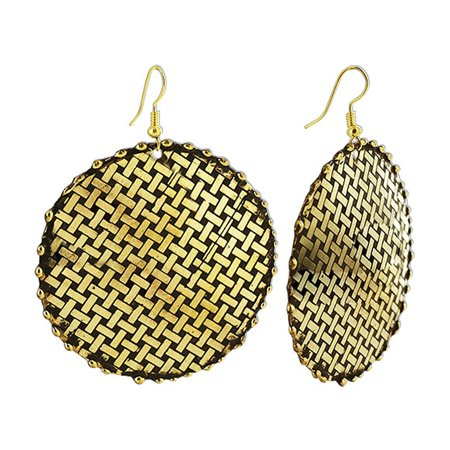 Gem Avenue 2 1 Inch Round Gold Tone Basket Weave Design Dangle Earrings With French Wire Findings